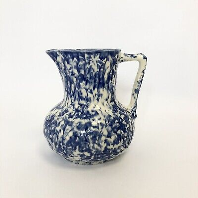 £0.99 • Buy Retro Moorland Staffordshire England Blue & White Abstract Vase/ Small Water Jug