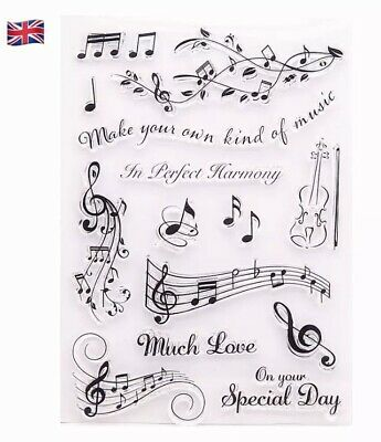 £3.95 • Buy Music Notes Silicone Clear Reusable Stamps Art & Crafts Scrapbook