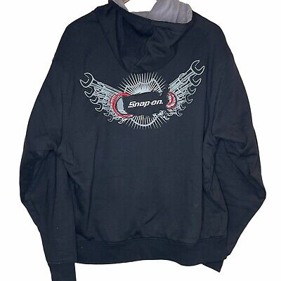 $ CDN101.55 • Buy Snap On Sz Large Mens Thick Heavy Zip Up Hooded Sweatshirt Jacket Wrenches Patch