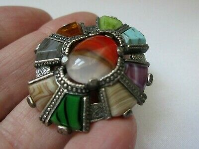 £12.99 • Buy Vintage Signed MIRACLE Scarf Ring Agate Glass Stone Silver Tone Scottish Celtic