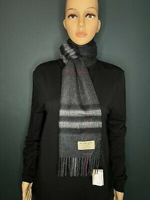 £177.26 • Buy Authentic Burberry Unisex The Classic Check Cashmere Scarf Color Charcoal