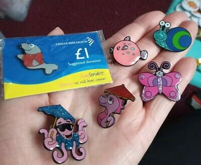 £2.49 • Buy 6x CANCER RESEARCH UK ENAMELS Pin Badges Vintage Lot Charity GLITTERY ANIMALS