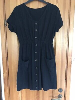 £5 • Buy Black Cheesecloth Button Front Dress With Pockets Size 12