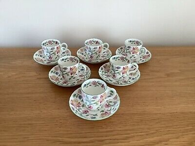 £39.99 • Buy 6 Minton Haddon Hall Expresso Coffee Cups And Saucers