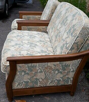 £100 • Buy Ercol Bergere Suite, 2 Seater Sofa & Armchair, Wooden Frame, Cream Floral Fabric