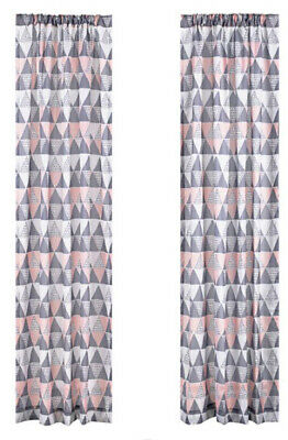 $15.95 • Buy NEW Mainstays 2 Window Curtain Panels Geo Triangle Blush And Grey - Choose Size