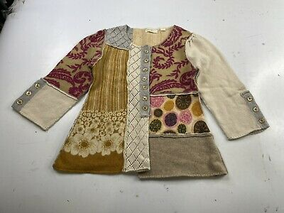 $ CDN12.44 • Buy Sleeping On Snow Anthropologie Bricolage Patchwork Button Cardigan Size Small