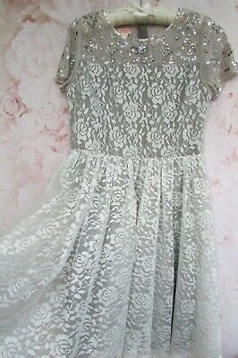 £14.99 • Buy BNWOT Ivory Grey Lace Sequin Flower Girl Party Occasion Dress 12-13 MONSOON £65