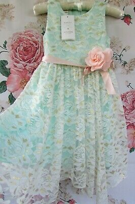 £24.99 • Buy BNWT Green Gold Lace JOSIE Flower Girl Party Occasion Dress 4-5 MONSOON £50