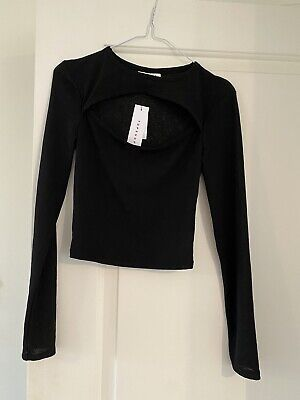 £3.50 • Buy Topshop Black Cut Out Long Sleeve Top Size 8