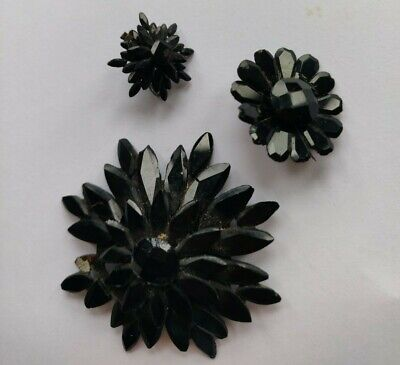 £10 • Buy Antique Victorian French Jet/Vauxhall Glass Jewellery Pieces