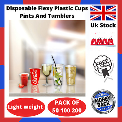 $35.87 • Buy Disposable Flexy Plastic Beer Tumblers Wine Cold Drink Cups Glasses Bars Pubs