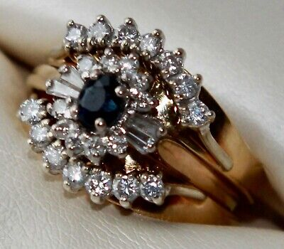 AU999 • Buy Antique Diamond And Blue Sapphire Three Ring Set In 18ct Yellow Gold.