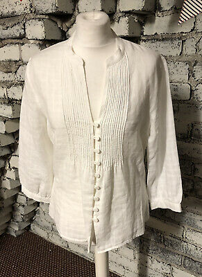 £24 • Buy Jaeger White Linen Button Front Shirt Size 12 NEW
