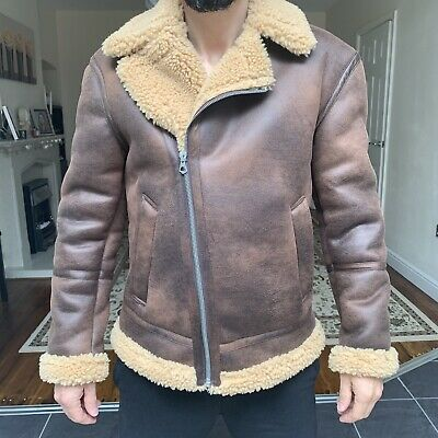 £25 • Buy Men's Brown Faux Leather Zara Jacket With Fur Lining Size S