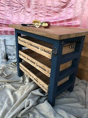 £450 • Buy Butchers Block Solid Oak 40mm  Hand Made Top To Bottom Inc Draws And French...