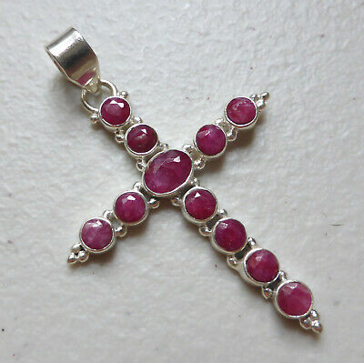 £34.99 • Buy 925 Sterling Silver Indian Ruby Pendant July Birthday 40th Anniversary Gift