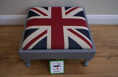 £60 • Buy  NEW RANGE  Union Jack Footstool In Heavy Tapestry Fabric,With Queen Anne Legs.