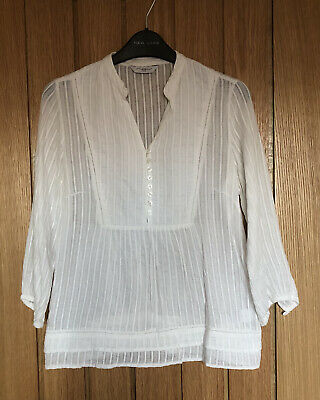 £1.95 • Buy Cream Blouse With Mandarin Collar,Size 10, With Button Front Detail & Double Hem