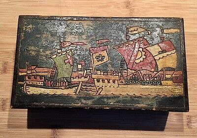 £7 • Buy Vintage FALCON Wooden Box - Hand Painted & Lightly Carved Ships Scene
