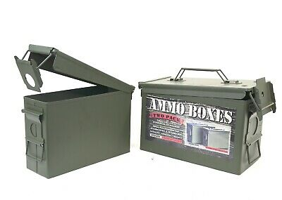 $29.95 • Buy 2 Pack Metal Ammo Cold Rolled Steel Storage Cans 30 Cal M19A1 50 Caliber M2A1