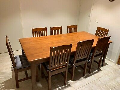 AU450 • Buy 8 Seater Solid Timber Dining Table And Chairs