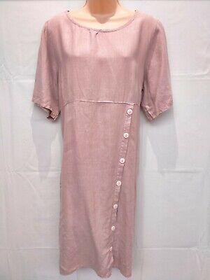 AU12.90 • Buy Made In Italy Dusky Pink Linen Dress Size 16
