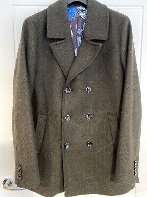 £80 • Buy Ted Baker Double Breasted Wool Pea Coat Size 6 2xl
