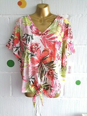 £12 • Buy Women Floral Colourful Summer Tropical Flowers Cut Out Sleeve Tie Top Size 8-10