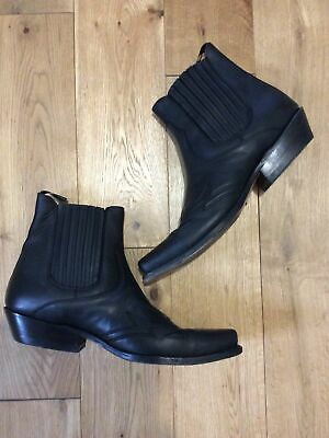 £29.99 • Buy Ladies Black Leather Pull On Western Cow Girl Ankle Boots Size 10 SANCHO BOOTS