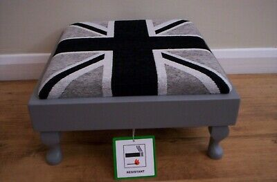 £55 • Buy ** NEW RANGE ** Union Jack Black & Grey Chenille Footstool With Queen Anne Legs.