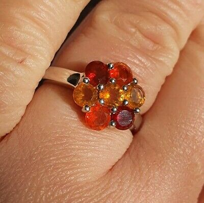 £60 • Buy 1.21ct Mexican Fire Opal Sterling Silver Cluster Ring By Gemporia Size N-O