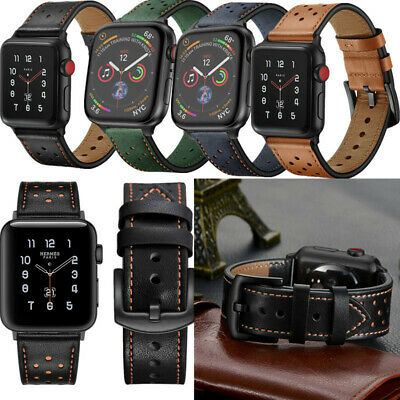 AU20.09 • Buy Breathable Holes Genuine Leather Band Strap For Apple Watch Series 6 5 4 3 2 1