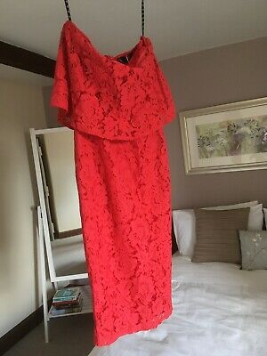 AU3.69 • Buy New Red Off-the-shoulder Dress By MISSGUIDED Lace Bandeau Frill BNWT Size 6
