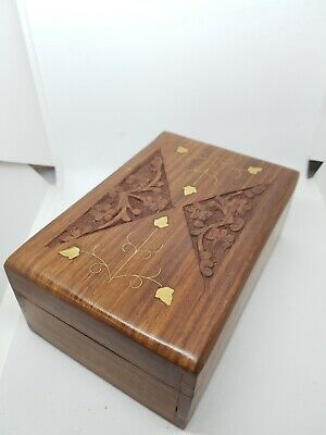 £9.99 • Buy Medium Sized Ornate Hand Carved Indian Wooden Jewellery Trinket Or Cigar Box
