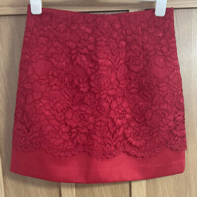 £8.99 • Buy H&m Womens Satin Red Skirt With Lace Overlay - Size Euro 38 - Us 8