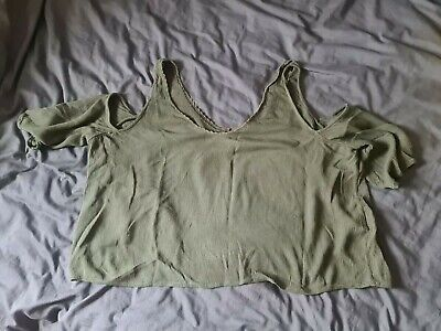 AU3.69 • Buy Pull And Bear Khaki Sleeveless Nice Loose Top Cropped 10 Womens Lace Pull&bear