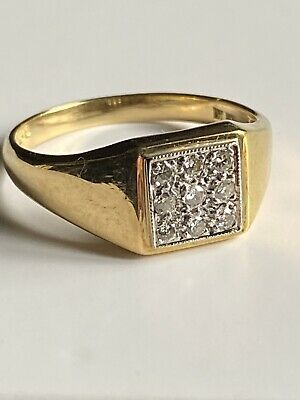 £30 • Buy  18ct Yellow Gold 9 Stone Diamond Square Cluster Ring 18K 750 Size S
