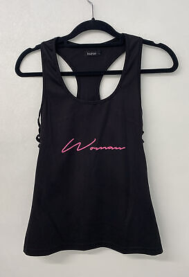 £3.50 • Buy Boohoo Woman Black Pink Sports Cut Out Vest Top 12