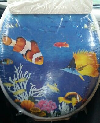 £17.97 • Buy New HomeTrends Under The Sea Cushion Soft Toilet Seat Clown Fish Adj. Hinges