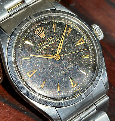 £1096.81 • Buy Vintage Rolex Oyster Perpetual 6285 Tropical Black Dial Bubbleback Watch & Band