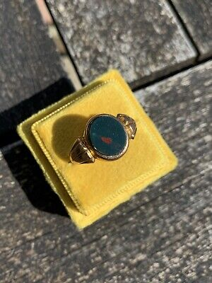 £280 • Buy Antique 9ct Gold Bloodstone Signet Ring