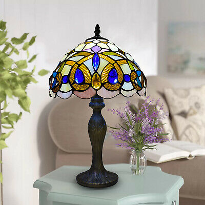 £64 • Buy Tiffany Style Table Lamp Stained Glass Handcrafted Bedside Light Desk Lamps UK.