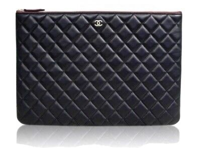 £611.33 • Buy 100%auth CHANEL Black Classic Large O Case Clutch Bag Quilted Lambskin Leather
