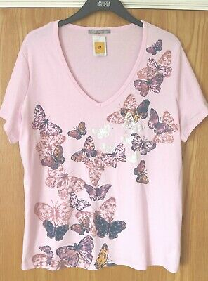 £8.99 • Buy M & S Pink Mix Butterfly Cotton T-Shirt BNWT Size 24