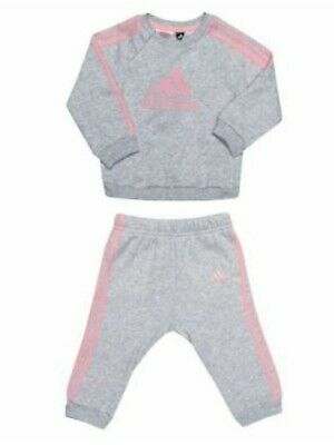 £2.30 • Buy Baby Girl 3-6 Months Junior Adidas Jogging Suit Adidas Pink And Grey Tracksuit