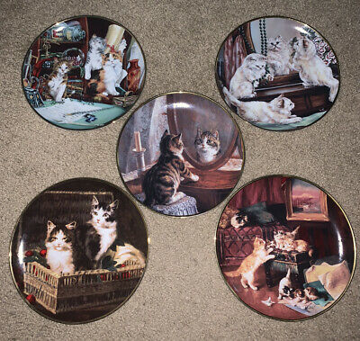 £39.56 • Buy Lot Of 5 Franklin Mint Heirloom Porcelain Plates Cat Theme Collectible