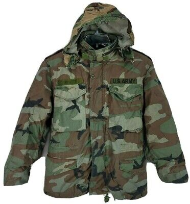 $42.99 • Buy Mens Small US Army M65 Field Jacket Coat Cold Weather Woodland Camo W/ Liner