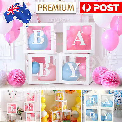 AU16.85 • Buy 4Pcs/Set LOVE BABY Balloons Box Cube Clear Gift Boxes Birthday Baby Shower Party