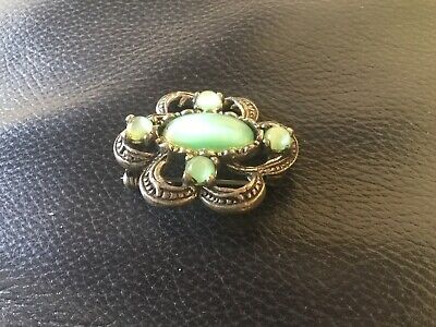 £2.99 • Buy Vintage Miracle Scottish Brooch With Green Coloured Stones